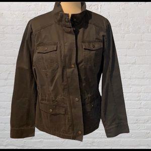 Merona grey zip-up jacket with draw-string…